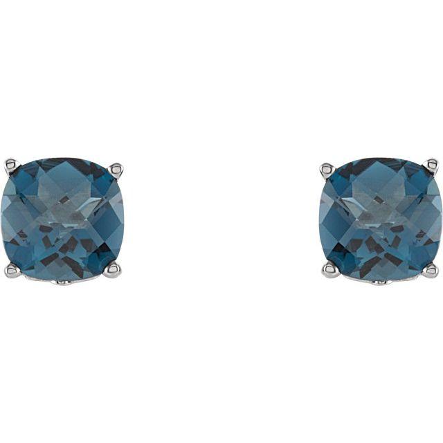 Sterling Silver 5x5 mm Cushion London Blue Topaz Earrings