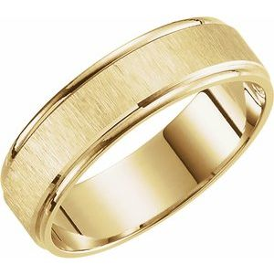 10K Yellow 6 mm Grooved Band with Satin Finish Size 10