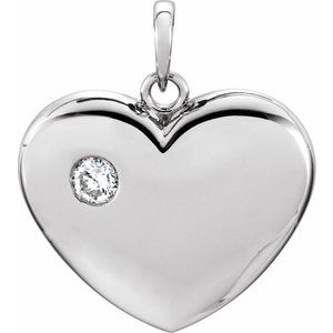 Sterling Silver 1/6 CT Diamond 22.5x19.5 mm Heart Pendant