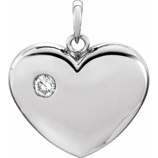 14K White 1/6 CT Diamond 22.5x19.5 mm Heart Pendant