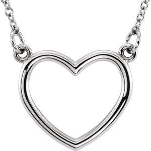"14K White 10.8x10 mm Heart 16"" Necklace"
