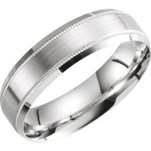Sterling Silver 6 mm Beveled Edge Band with Milgrain Size 13