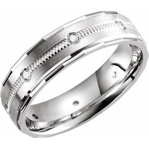 14K White 1/6 CTW Diamond Design Edge Band Size 11