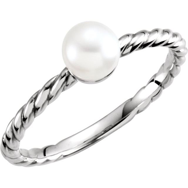 14K White 5.5-6.0 mm Cultured Freshwater Pearl Ring