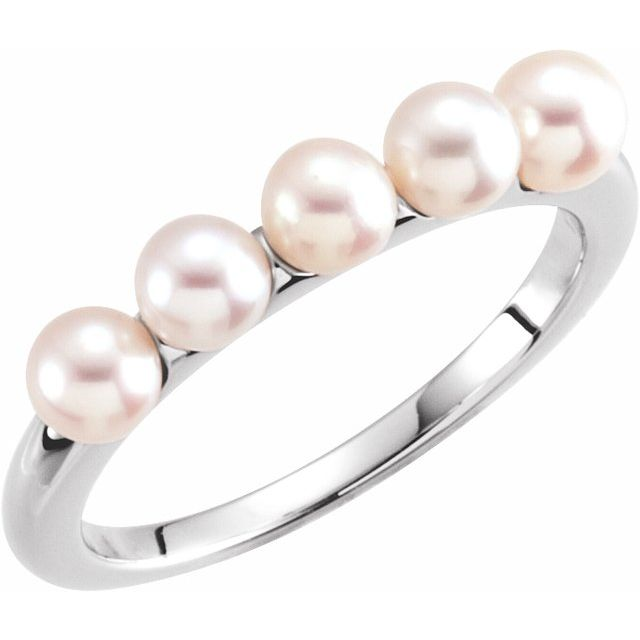 14K White 4-4.5 mm Cultured White Freshwater Pearl Ring