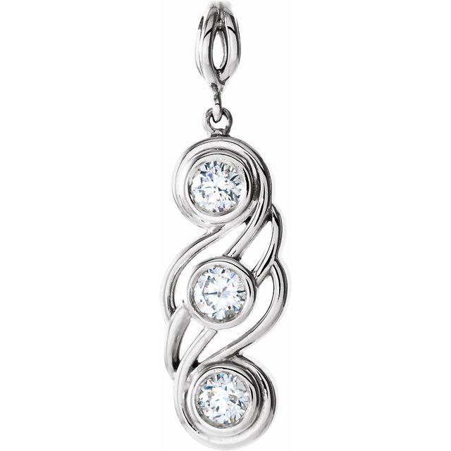 14K White 1/2 CTW Diamond Bezel-Set Three-Stone Pendant