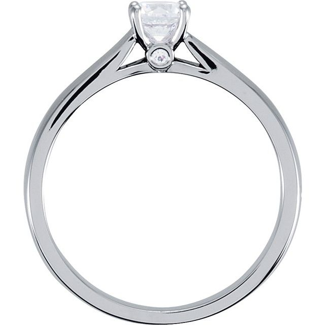 10K White 1/2 CTW Diamond Solitaire Engagement Ring with Accent