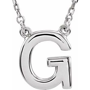 "Sterling Silver Block Initial G 16"" Necklace"