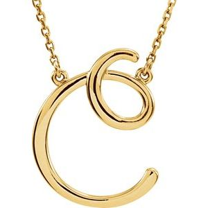 "14K Yellow Script Initial C 16"" Necklace"