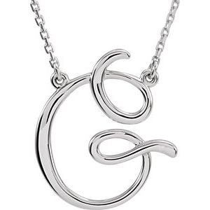 "Sterling Silver Script Initial G 16"" Necklace"