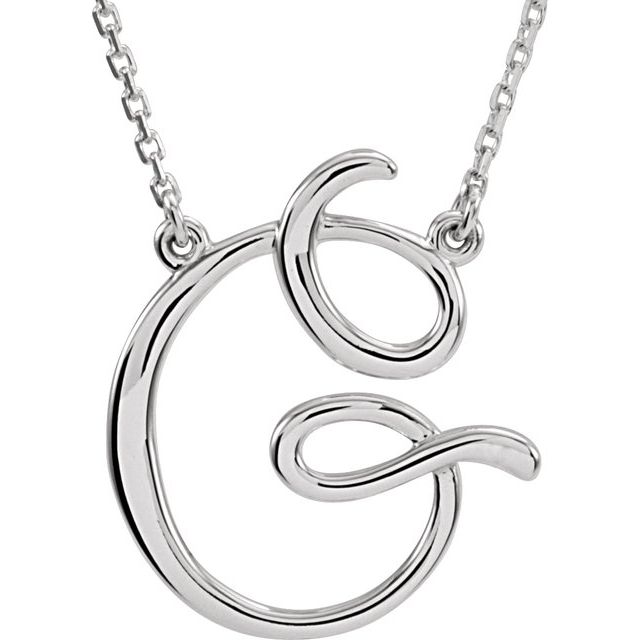 """Sterling Silver Script Initial G 16"""" Necklace"""