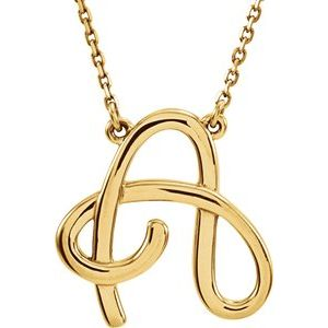 """14K Yellow Script Initial A 16"""" Necklace"""