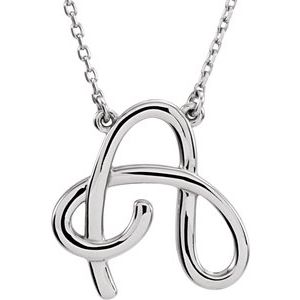 "14K White Script Initial A 16"" Necklace"