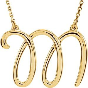 "14K Yellow Script Initial M 16"" Necklace"