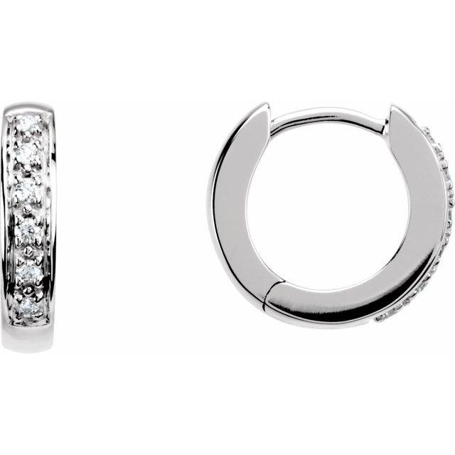 14K White 1/10 CTW Diamond Huggie Earrings