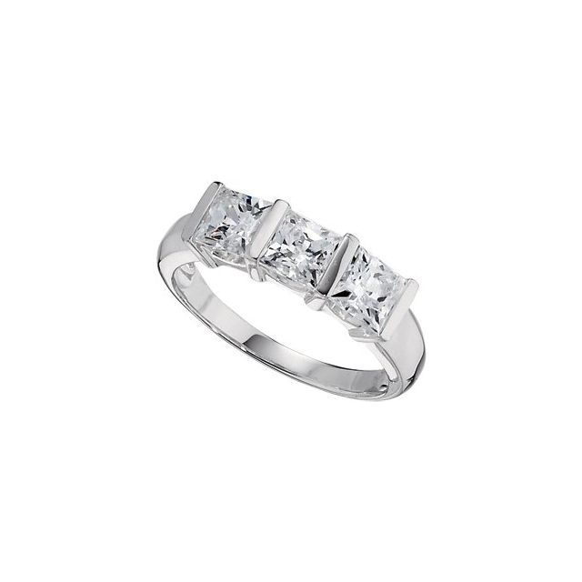 Sterling Silver 5x5 mm Square Cubic Zirconia Three-Stone Ring Size 6