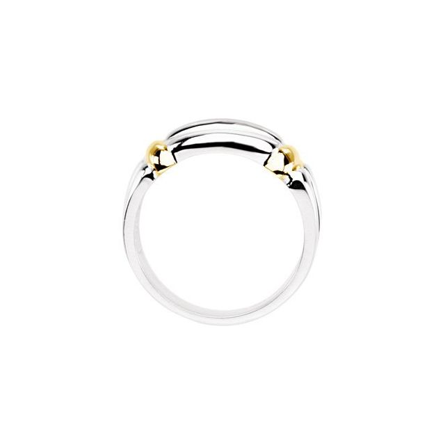 Sterling Silver & 14K Yellow Band