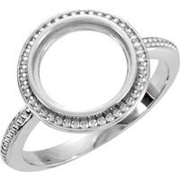 Sterling Silver 12 mm Round Bezel-Set Ring Mounting