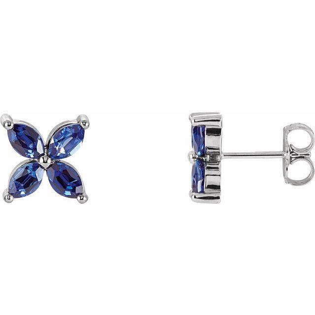 14K White Lab-Grown Blue Sapphire Earrings