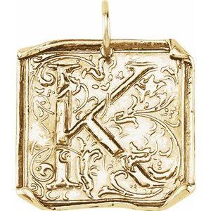 "14K Yellow Initial ""K"" Vintage-Inspired Pendant"