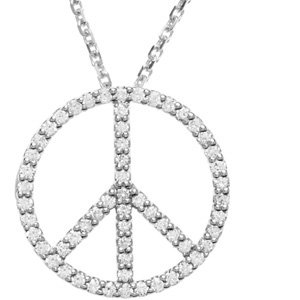 "14K White 1/3 CTW Diamond Tiny Peace Sign 16"" Necklace"