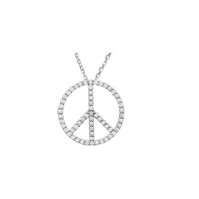 14K White 1/3 CTW Diamond Tiny Peace Sign 16