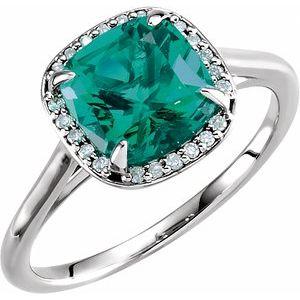 14K White Lab-Grown Emerald & .055 CTW Diamond Halo-Style Ring