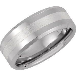 Cobalt 8 mm Band with Sterling Silver Inlay Size 10