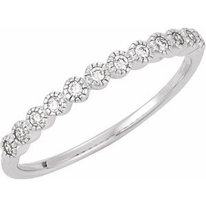 14K White 1/6 CTW Diamond Anniversary Band Size 7