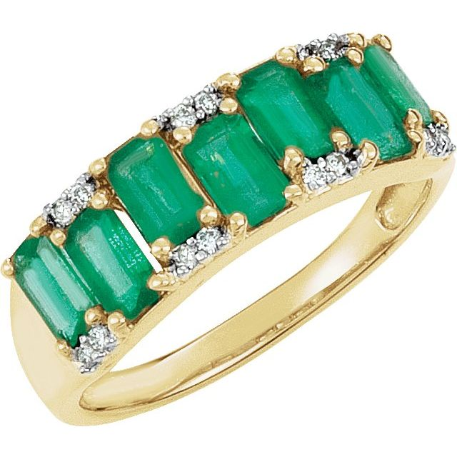 14K Yellow 5 x 3 mm Emerald & .07 CTW Diamond Ring