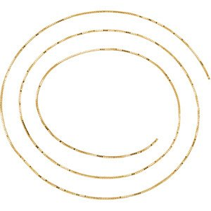 14K Yellow .55 mm Solid Box Chain by the Inch