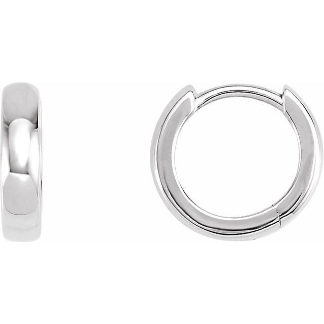 14K White 11.5 mm Hinged Huggie Earrings