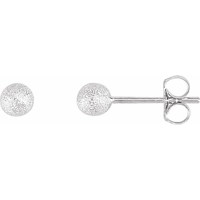 Sterling Silver 4 mm Stardust Ball Earrings