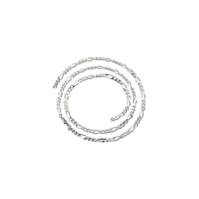 Sterling Silver 3.5 mm Figaro Chain by the Inch
