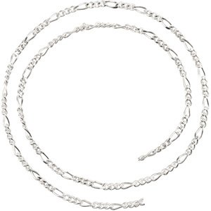 Sterling Silver 2.5 mm Figaro Chain by the Inch