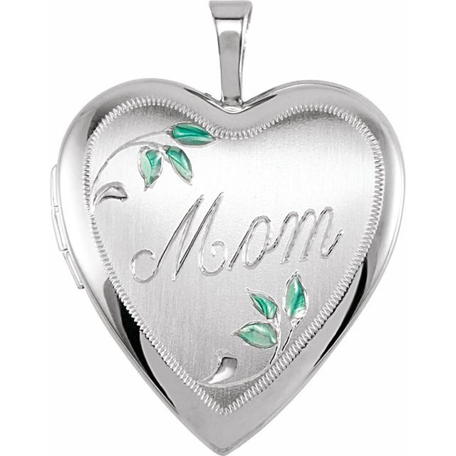 Sterling Silver 21x19.25 mm Heart Mom Locket with Color