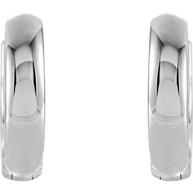 14K White 9.5 mm Hinged Huggie Hoop Earrings