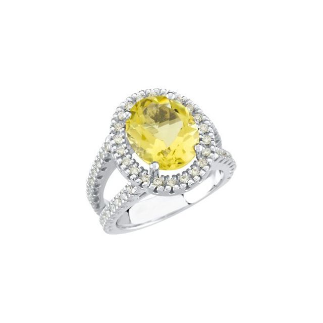 14K White Lemon Quartz & 1/2 CTW Diamond Ring