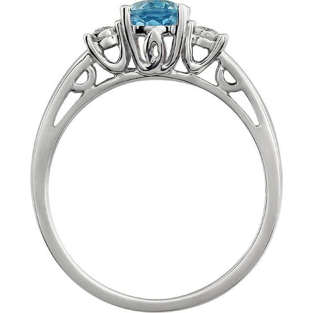 14K White Swiss Blue Topaz & .04 CTW Diamond Ring