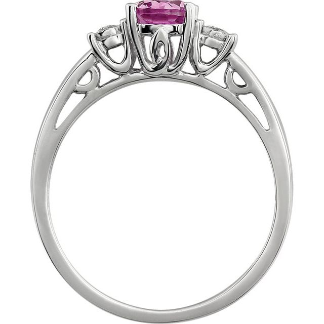 14K White Created Pink Sapphire & .04 CTW Diamond Ring