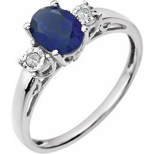 14K White Created Blue Sapphire & .04 CTW Diamond Ring