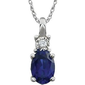 "14K White Created Blue Sapphire & .02 CTW Diamond 18"" Necklace"