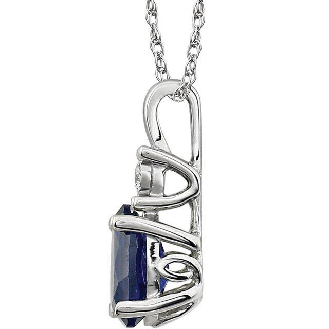 14K White Lab-Grown Blue Sapphire & .02 CT Natural Diamond 18