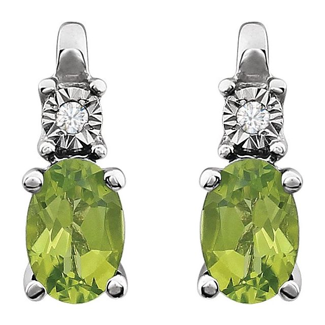 14K White Peridot & .02 CTW Diamond Accented Earrings