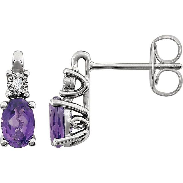 14K White Amethyst & .02 CTW Diamond Accented Earrings