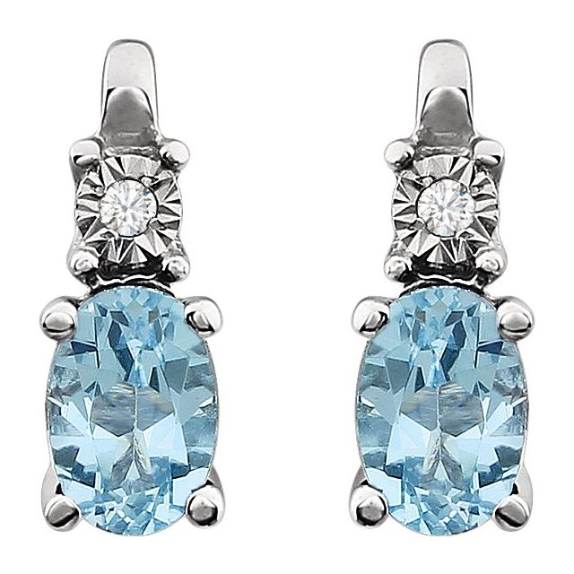 14K White Sky Blue Topaz & .02 CTW Diamond Accented Earrings