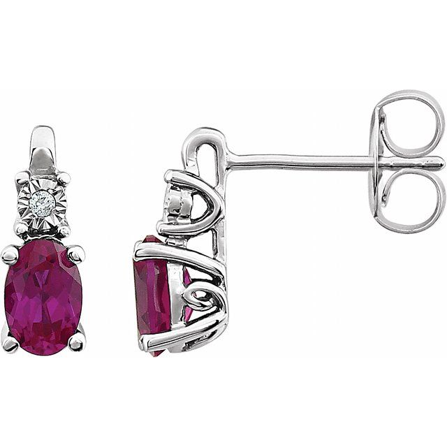 14K White Created Ruby & .02 CTW Diamond Accented Earrings