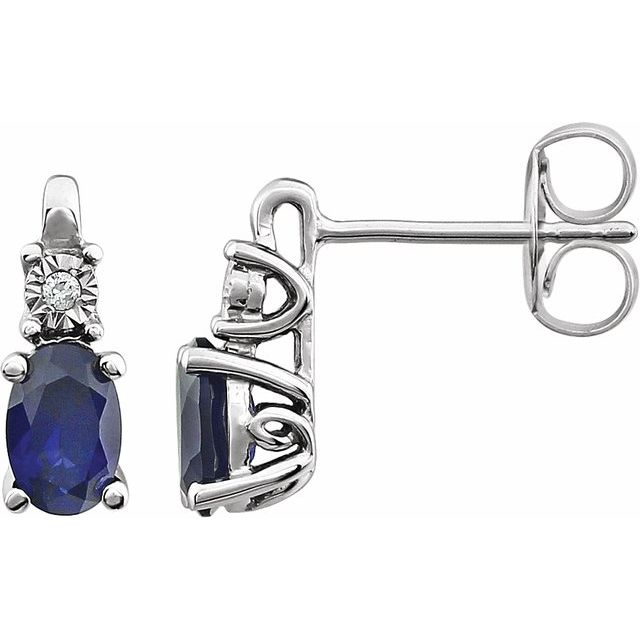 14K White Created Blue Sapphire & .02 CTW Diamond Accented Earrings