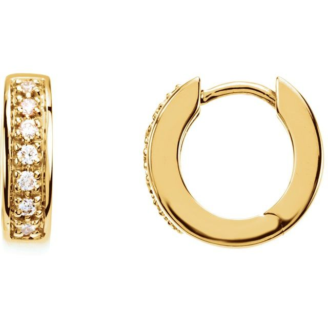 14K Yellow 1/6 CTW Diamond Huggie Earrings