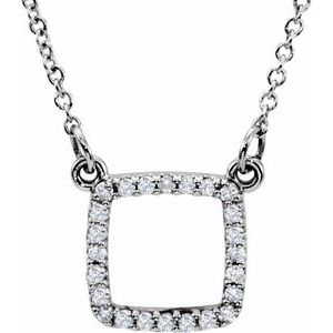 "14K White 1/8 CTW Diamond 16"" Necklace"